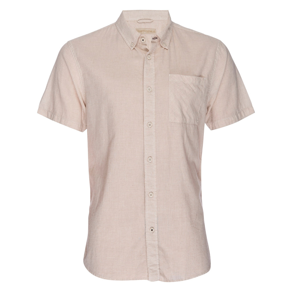 Truman Button Collar Microstripe in Tan