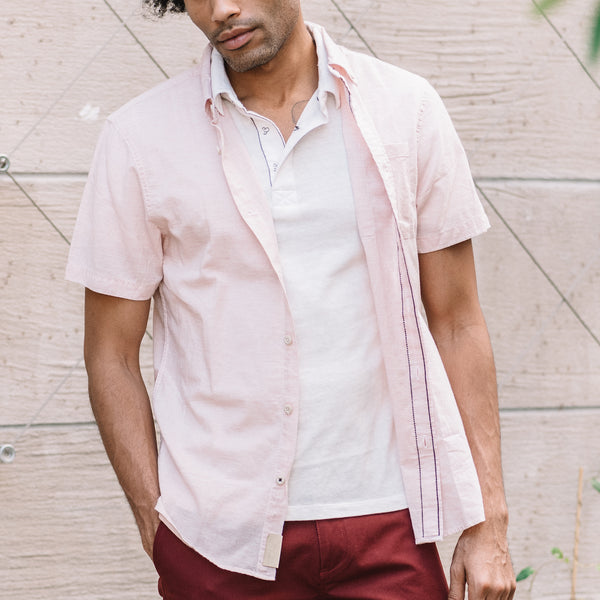 Truman Button Collar Microstripe in Pink