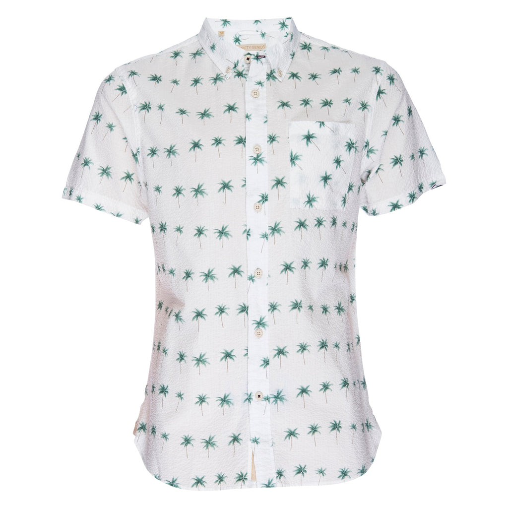 Truman Button Collar in Seersucker Palm Print