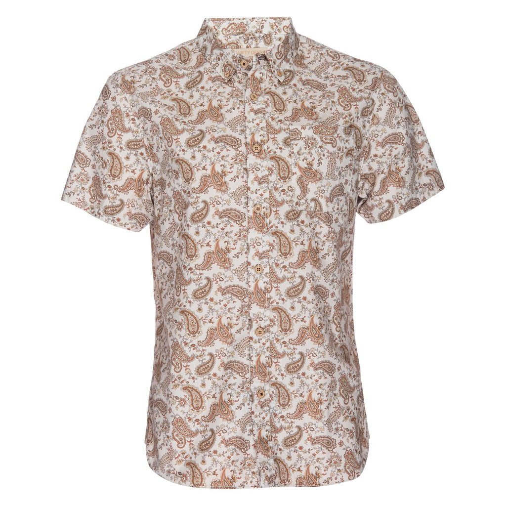 Truman Button Collar Paisley Print in Cream/Tan
