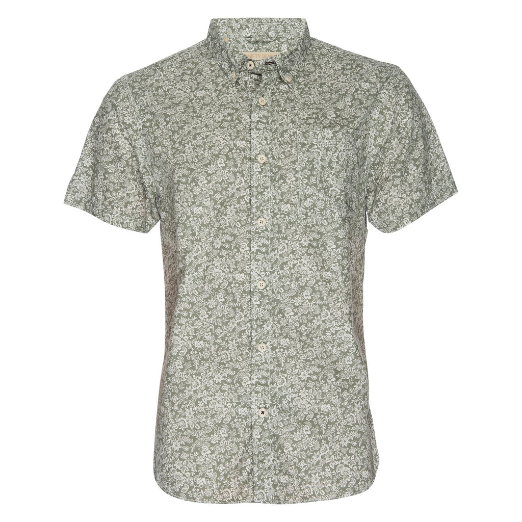Truman Button Collar Floral Print in White/Olive