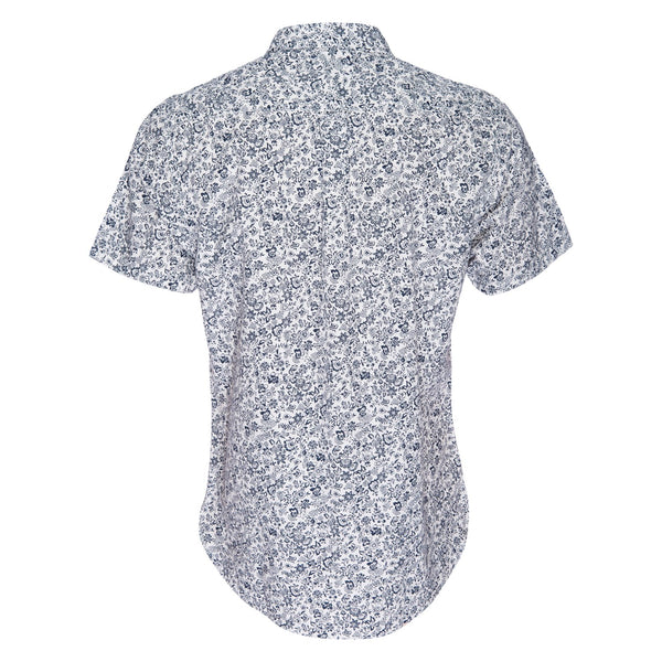 Truman Button Collar Floral Print in White/Navy