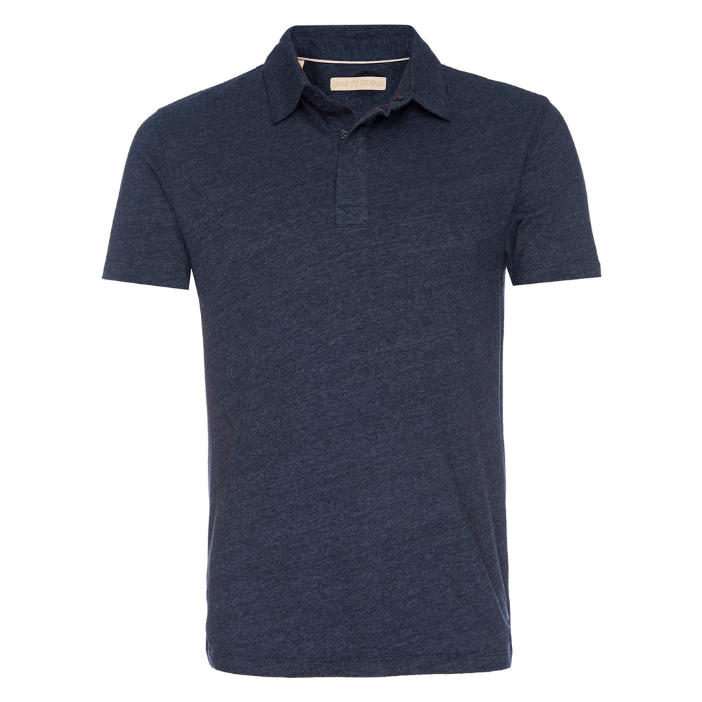 Nicholas Recycled Cotton/Poly Polo in Navy