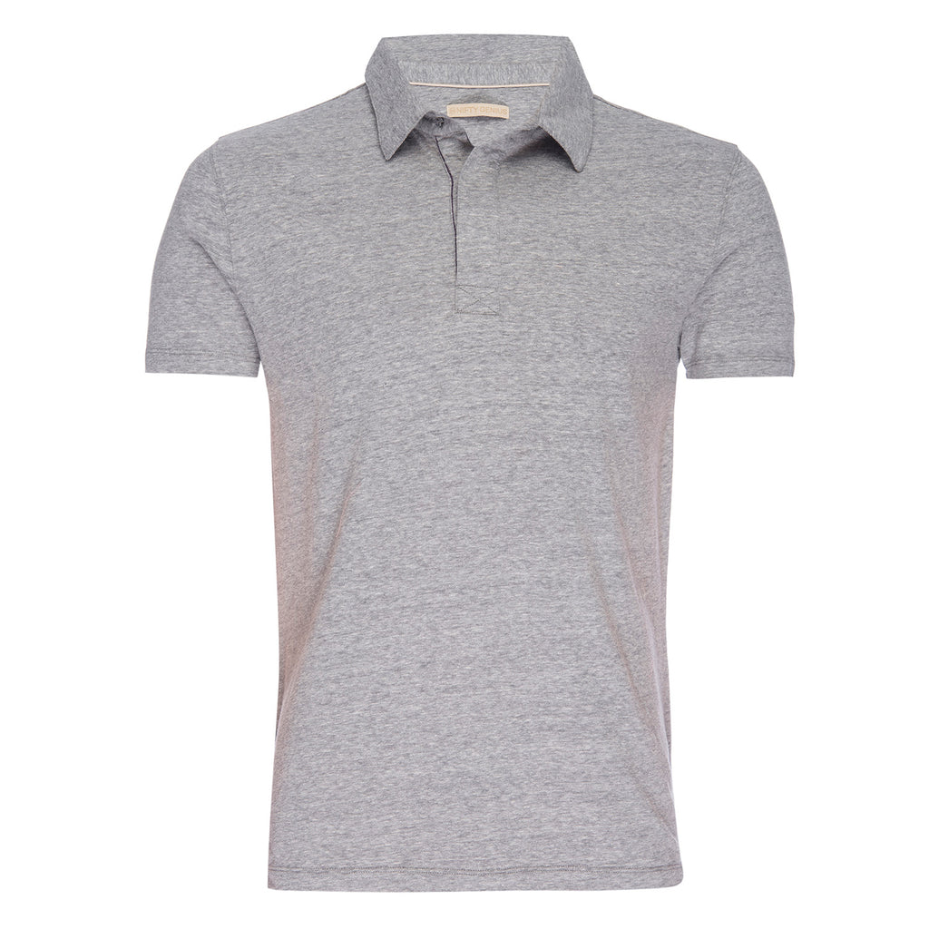 Nicholas Recycled Cotton/Poly Polo in Gray