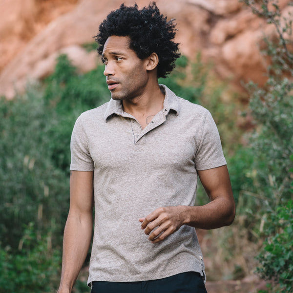 Nicholas Recycled Cotton/Poly Polo in Brown
