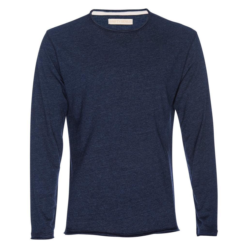 Ryan Raw Seam Burnout Crew Neck in Navy