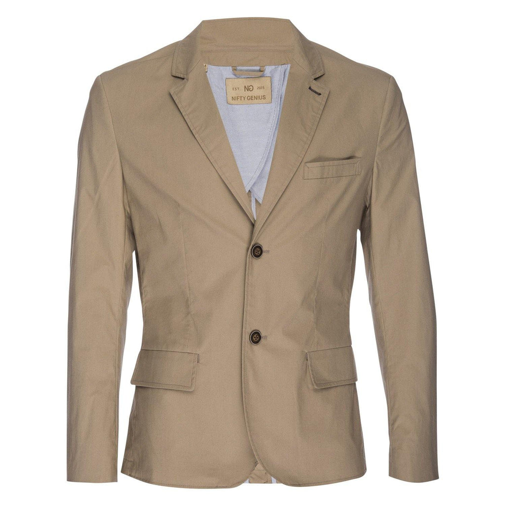 Kurt Stretch Typewriter Cloth Blazer in Tan
