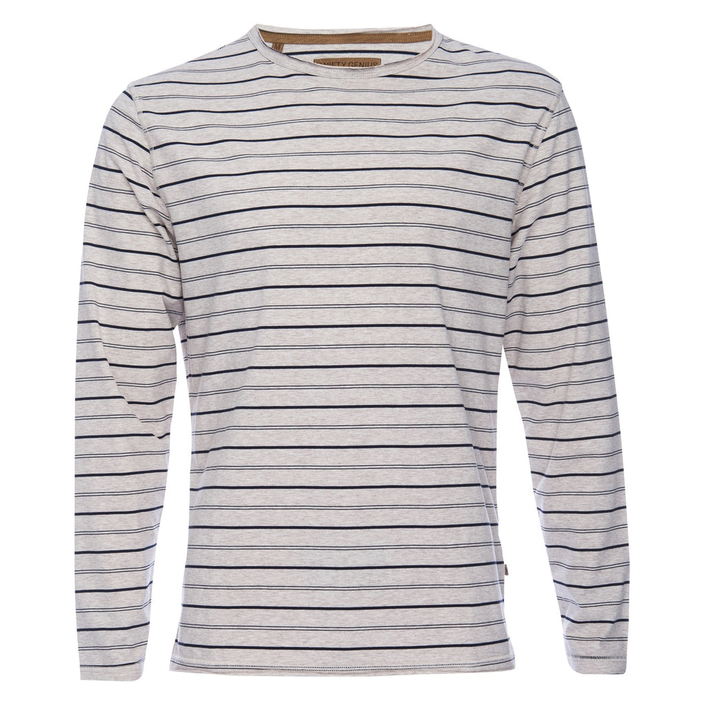 Ryan Raw Seam Stripe Crew Neck in White/Navy