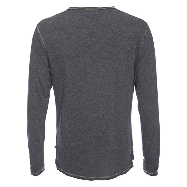 Ryan Raw Seam Ombre Stitch Crew Neck in Gray