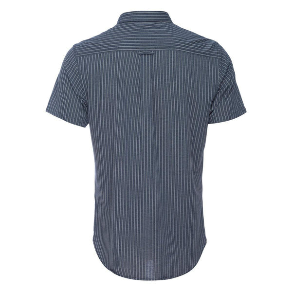 Truman Short Sleeve Button Collar Banker Stripe in Indigo