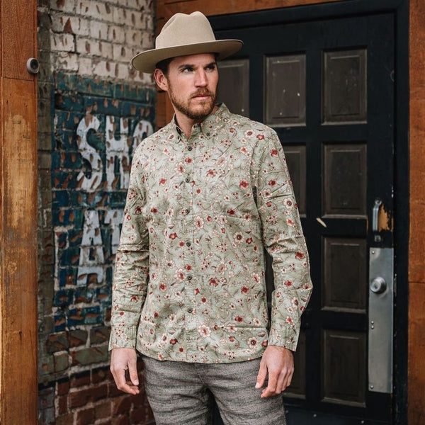 Truman Button Collar in Olive Floral