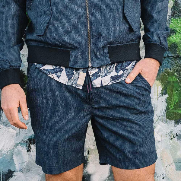 Kennedy Pull On Short in Camo Jacquard Seersucker