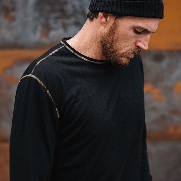 Ryan Raw Seam Ombre Stitch Crew Neck in Black