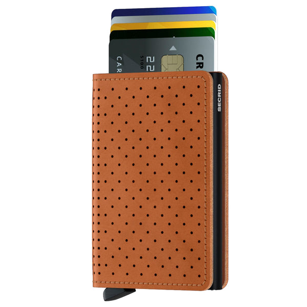 Slimwallet Perforated in Cognac