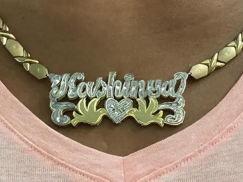 Personalized 14k Gold Overlay 2 Quot Double 3d Any Name Plate