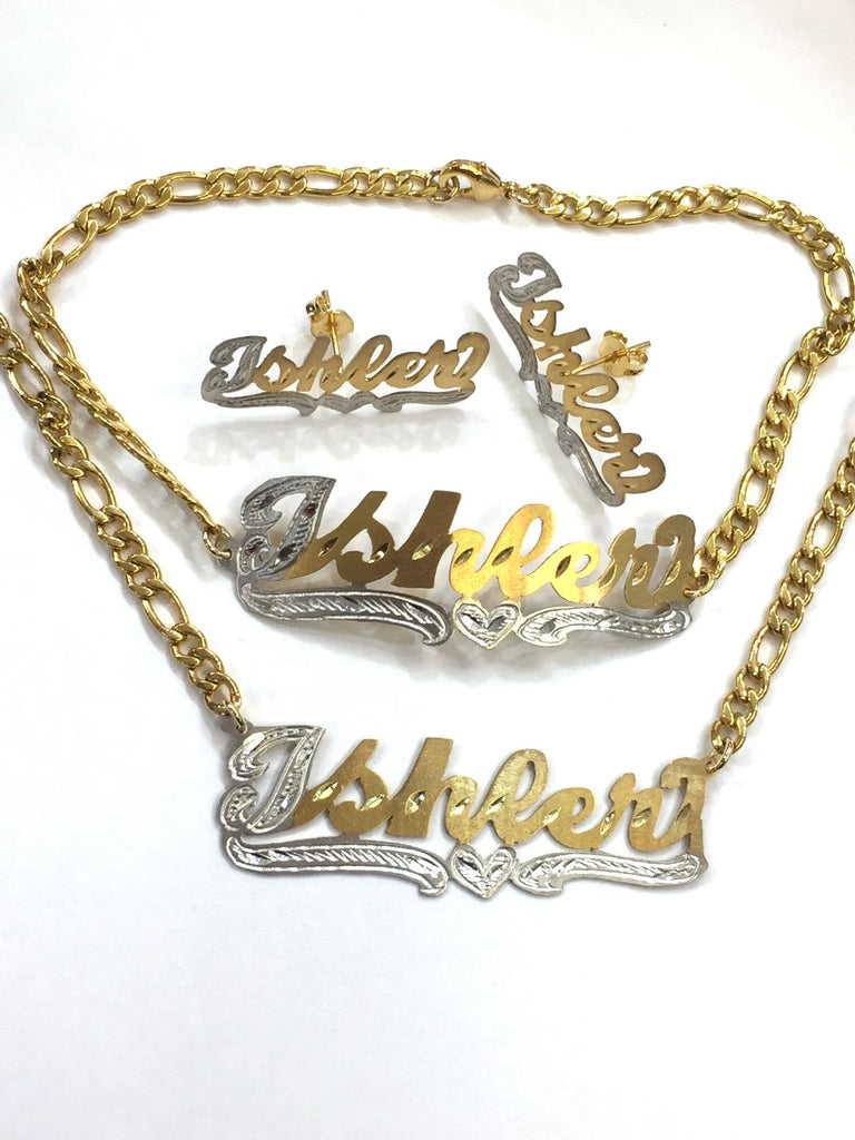 Personalized 14k Gold Plate Single plated Any Name Set Necklace Bracelet & Earrings