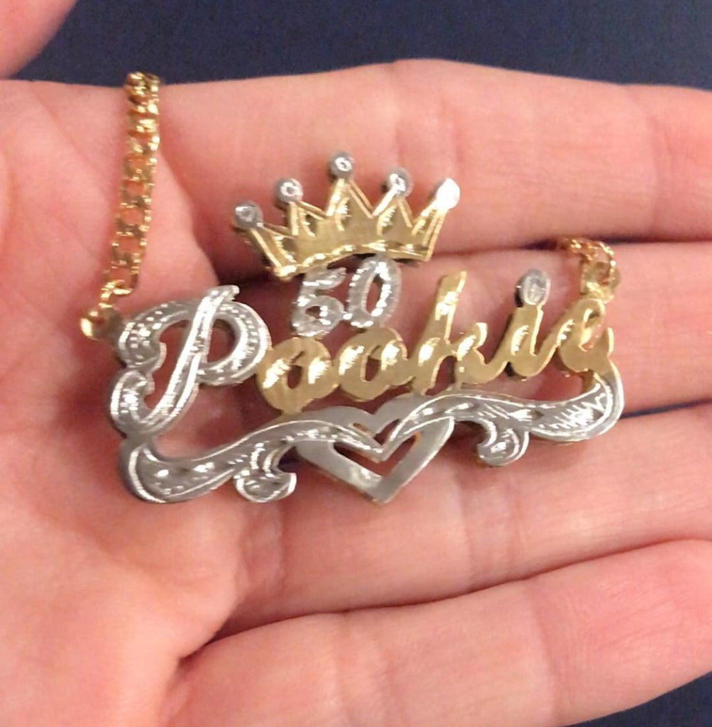 14k Gold Plate Personalized Any Name Double Plate Nameplate Necklace + Crown