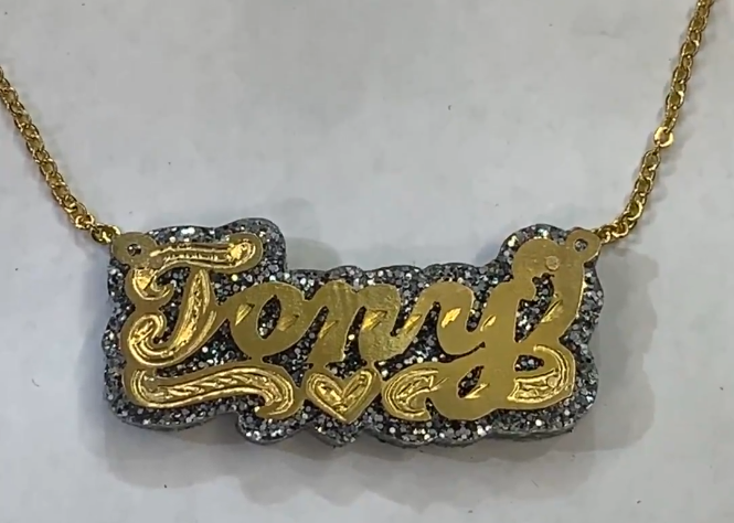 Personalized 14k Gold Overlay Double Any Name Plate Necklace Glitter Sparkle SILVER Onyx Back