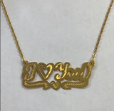 "14k Gold Plate Personalized ""ILoveYou"" Single Plate Nameplate Necklace (comes with the Chain )."
