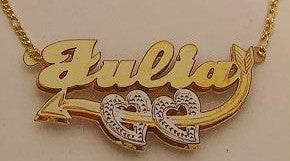 Personalized Gold Overlay Double 3d Any Name Plate Necklace Free Chain /a11