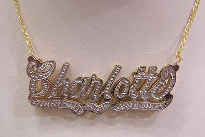 Personalized 14k Gold Overlay Double 3d Any Name Plate Necklace Free Chain /a12