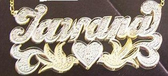 Personalized Gold Overlay Double 3d Any Name Plate Necklace Free Chain /a14