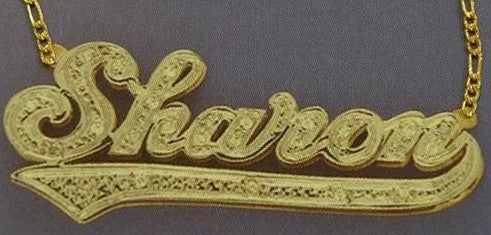 Personalized Gold Overlay Double 3d Any Name Plate Necklace Free Chain /a23