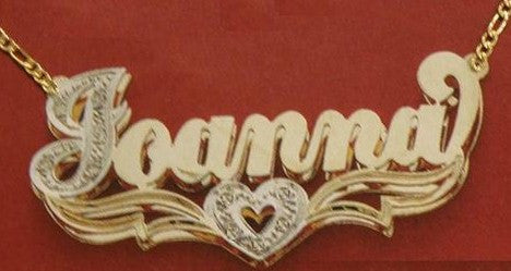 Personalized Gold Overlay Double 3d  Any Name Plate Necklace Free Chain /a4