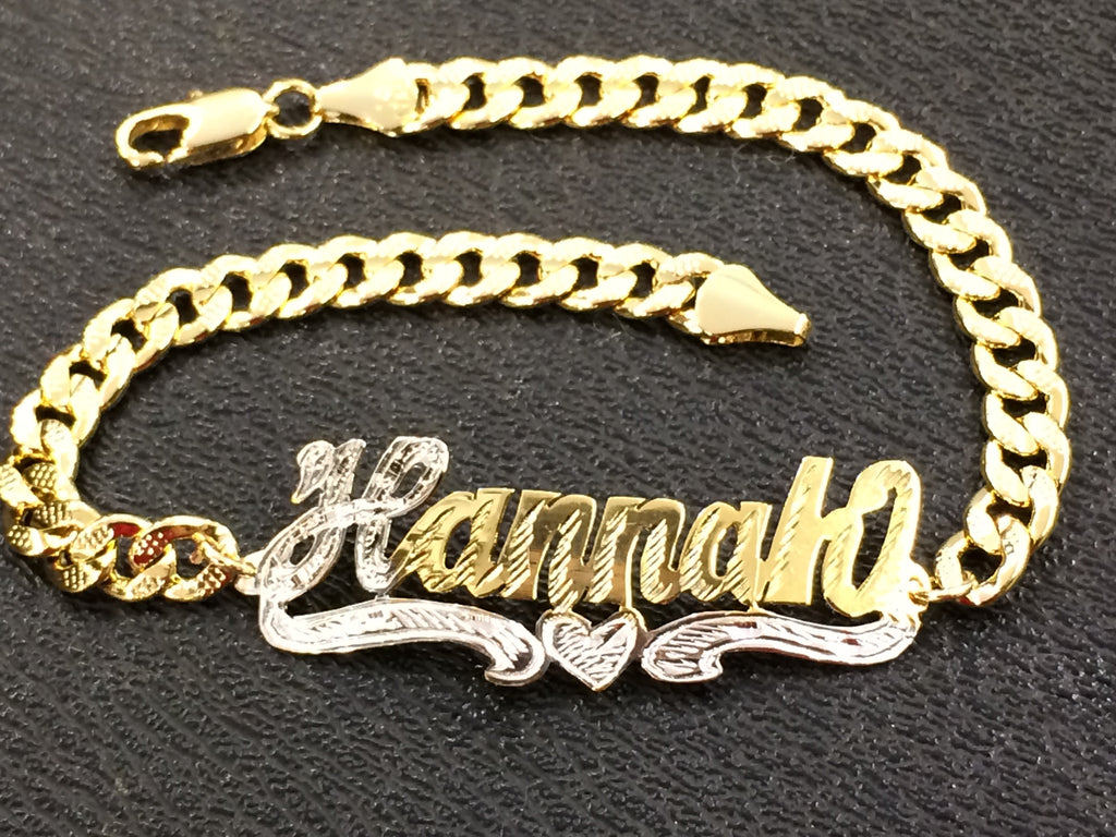 Personalized Adult 14K Gold Overly Any Single Plate Name ID Bracelet Baptsim Christening (Gold Plate).