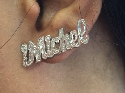 PERSONALIZED Silver Any Name Single Plated STUD Earrings (14k Gold Plate Dipped in White Gold).