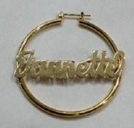 Personalized 14k Gold Overlay/ Gold Plate any Name 2 1/2 inch hoop earrings/a