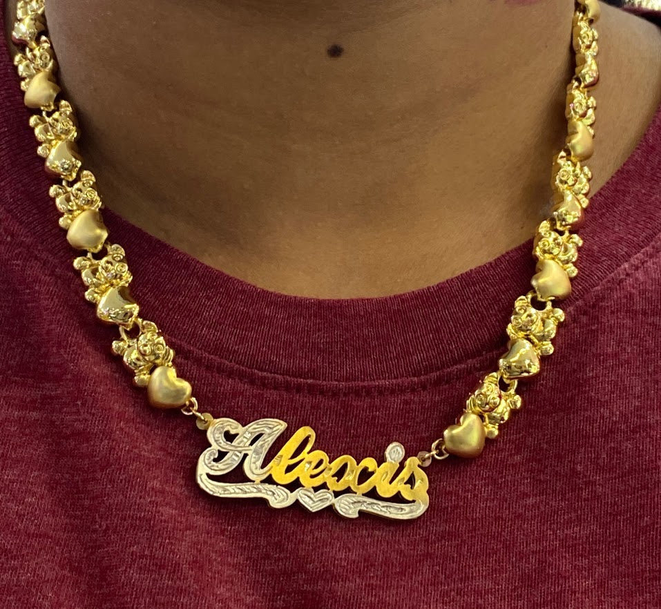 14k Gold Plate Personalized Any Name Double Plate Nameplate Necklace with X & Teddy Bear chain