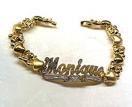 Personalized 14K Gold Overlay Any Double Name Plate X & Teddy Bear Bracelet