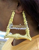 "Personalized 14k Gold Overlay GP Any Name Hoop Bamboo Door Knocker Earrings 3"" ( top to bottom)"