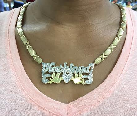 "Personalized 14k Gold Overlay 3"" Double 3d Any Name Plate Necklace XOXO chain"