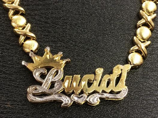 14k Gold Plate Personalized Any Name Double Plate Nameplate Necklace with XOXO chain and crown