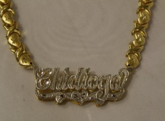 14k Gold Plate Personalized Any Name Double Plate Nameplate Necklace with XOXO chain 1