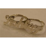 Personalized Any Name 925 Sterling Silver 2 Fingers Any Single plate Name Ring/1