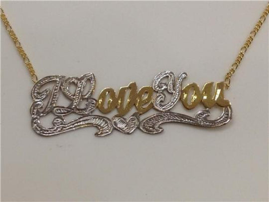 "14k Gold Plate Personalized ""ILoveYou"" Single Plate Nameplate Necklace (comes with the Chain )"