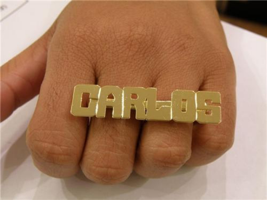 Personalized 14k Gold Plate Any Block Letter Name 2 Fingers Any Single plate Name Ring/1