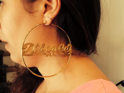 14k Gold Overlay/ Gold Plate Personalized Any Name 4 inch Hoop Earrings