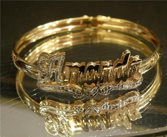 Adult Personalized 14k Gold Plate Any 3d Double Name