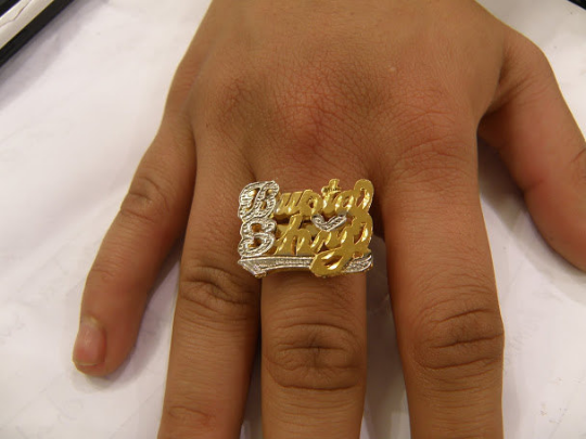 Personalized 14k Gold Plated One Finger Any 2 Double Plated Name Ring