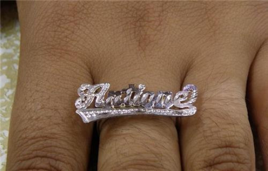 .925 Sterling Silver Personalized Any Name Any Size Single Plate Ring