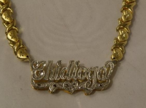 necklace classic chains np script plate gold y name