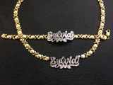 Personalized 14k Gold Plate Double plated Any Name 3D Necklace & matching Bracelet + X&Heart chain/1