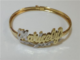 Adult Personalized 14K Gold Plate Any 3D Double Name Bracelet Bangle/Gold Overlay