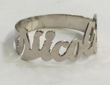 .925 Sterling Silver Personalized One Finger Any Name Ring Plain Script Letters With or Without Diamond Cut