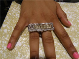 Personalized Any Name 14k Gold Plated Two Fingers Any double Name Ring/2