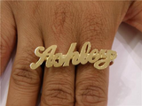 Personalized Any Name 14k Gold Plated 2 Fingers Any Single plate Name Ring/3